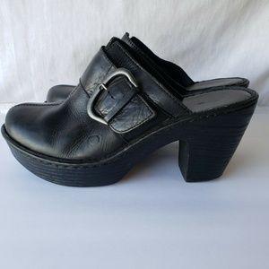 Born Womens Black Leather Slip On Clog Mules Wedge